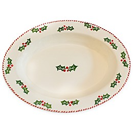 Euro Ceramica Natal Festive Holiday 18-Inch Oval Platter