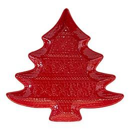 Euro Ceramica Natal Festive Holiday Tree Platter