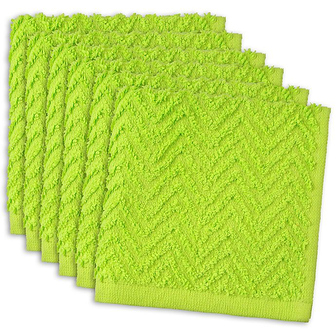 Alternate image 1 for DII Design Imports Zigzag Barmop Dishcloth (Set of 6) in Green