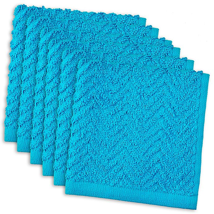 Alternate image 1 for DII Design Imports Zigzag Barmop Dishcloth (Set of 6) in Neon Blue