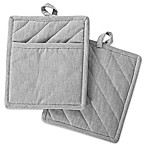 DII Design Imports Solid Chambray Pot Holder (Set of 2) in Grey