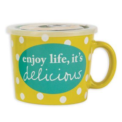Boston Warehouse Enjoy Life 24 Oz Covered Soup Mug Bed