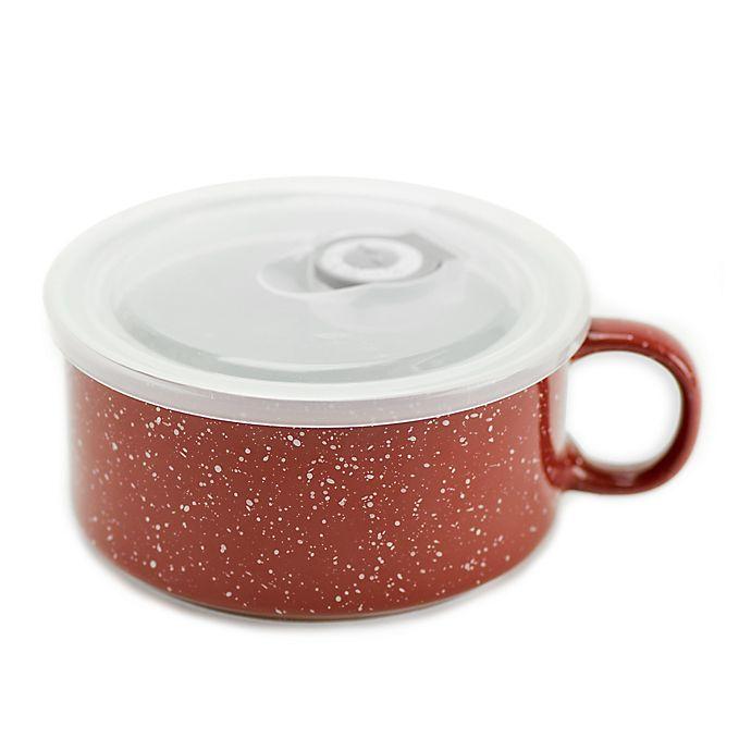 Alternate image 1 for Boston Warehouse Red 22 oz. Covered Soup Mug