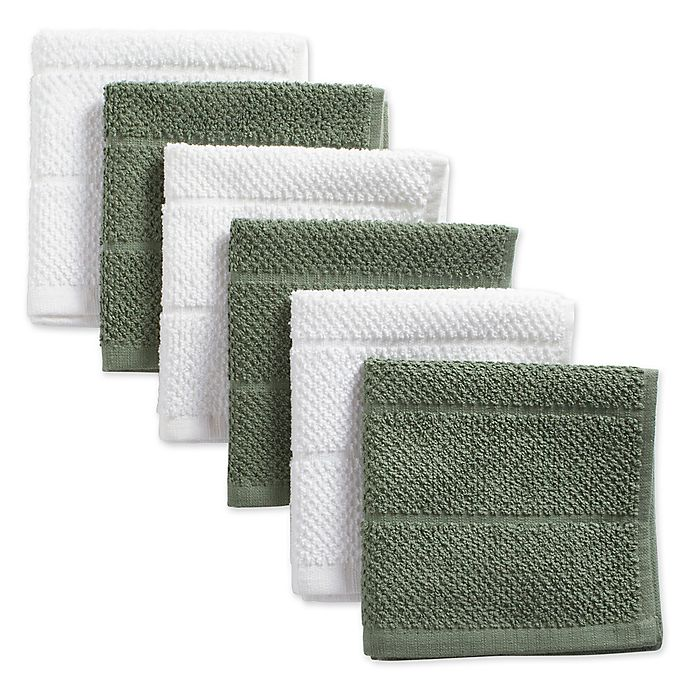 Alternate image 1 for DII Design Imports Basic Chef Terry Dishcloth (Set of 6) in Green