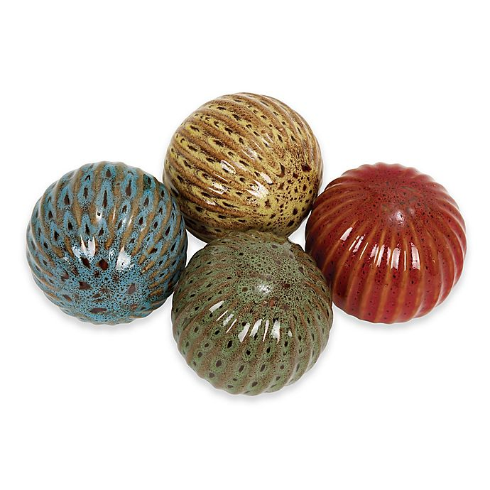 Alternate image 1 for Ridge Road Décor Fluted Ceramic Ball Sculptures (Set of 4)