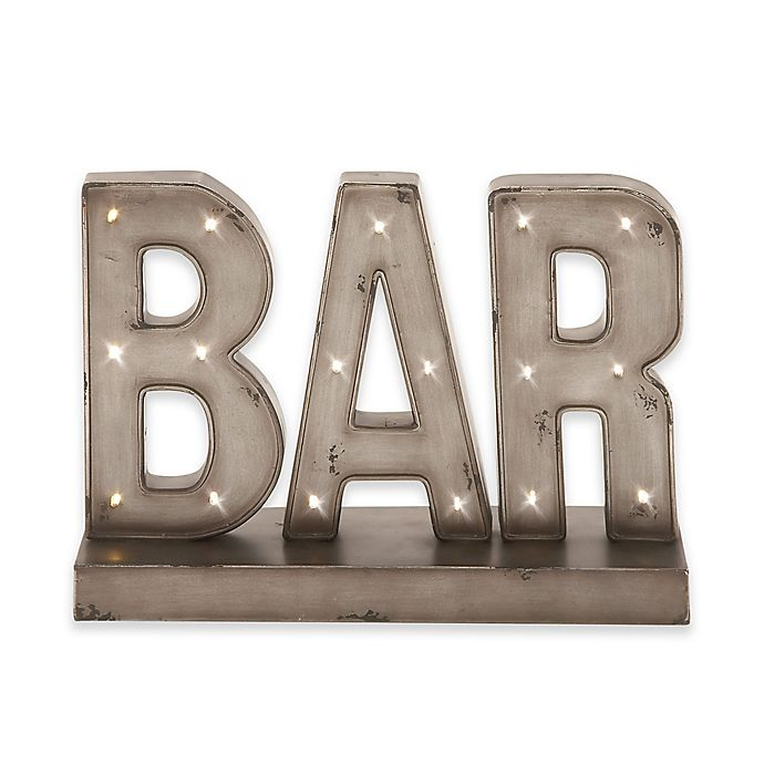 Alternate image 1 for Ridge Road Décor Bar Metal LED Standing Sign in Gray