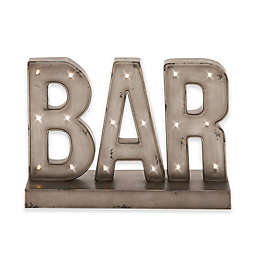 Ridge Road Décor Bar Metal LED Standing Sign in Gray