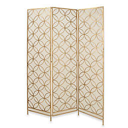 Ridge Road Décor Intersecting Rings Iron Three-Panel Screen in Gold