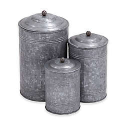 Ridge Road Décor 3-Piece Galvanized Iron Canister Set in Grey