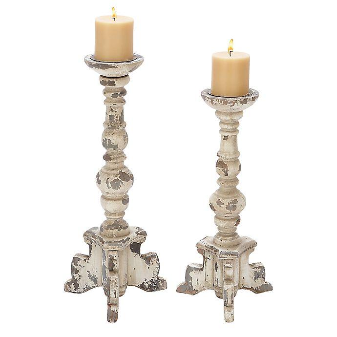 Alternate image 1 for UMA 2-Piece Footed Wood Candle Holder Set in Whitewash