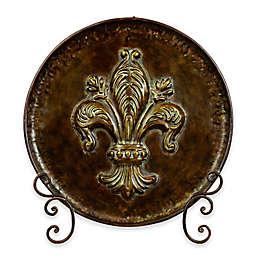 Ridge Road Décor Fleur de Lis Decorative Iron Plate with Stand in Brown