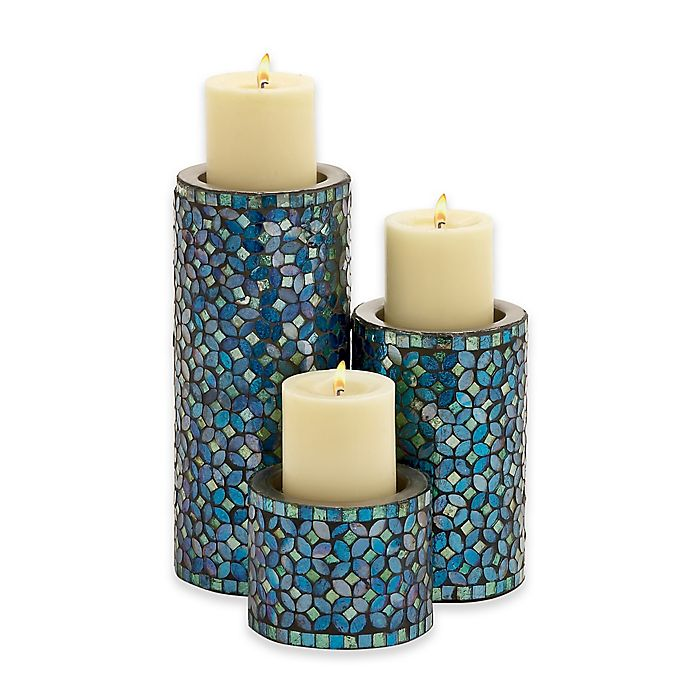 Ridge Road D Eacute Cor 3 Piece Metal Mosaic Candle Holder Set In Turquoise Bed Bath Beyond
