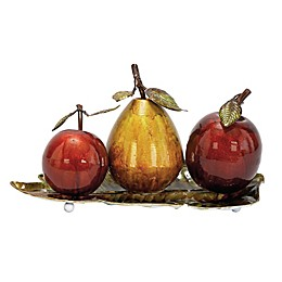 Ridge Road Décor Fruit on Leaf Tray 4-Piece Iron Sculpture Set
