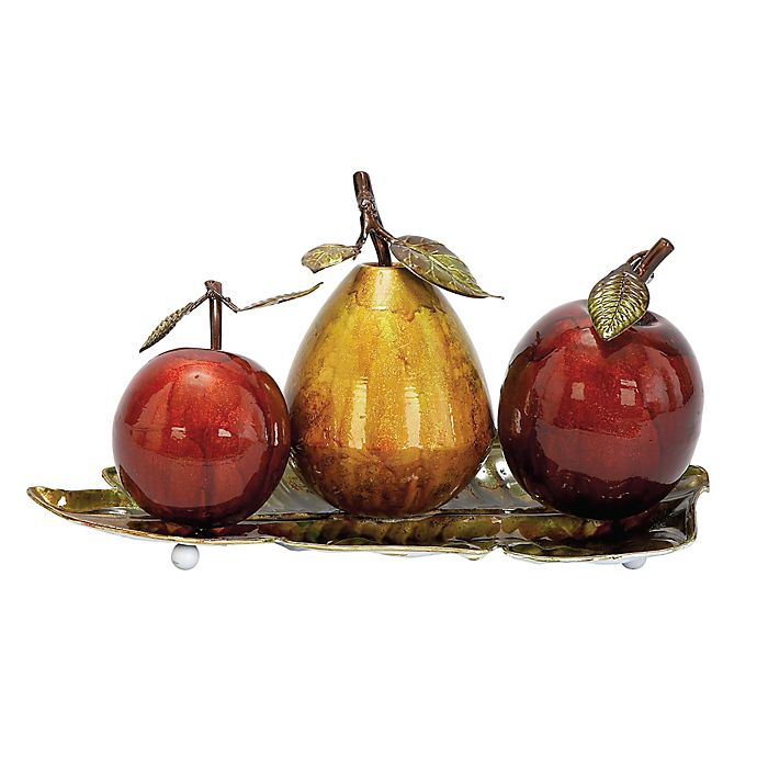 Alternate image 1 for Ridge Road Décor Fruit on Leaf Tray 4-Piece Iron Sculpture Set