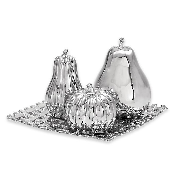 Alternate image 1 for Ridge Road Décor Fruit on Basketweave Tray 4-Piece Ceramic Sculpture Set in Silver