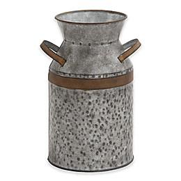 Ridge Road Décor Galvanized Iron Decorative Milk Can in Grey