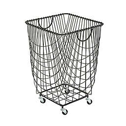 Ridge Road Décor Square Iron Wire Rolling Basket in Black