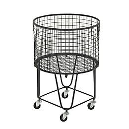 Ridge Road Décor Round Iron Wire Rolling Basket in Black