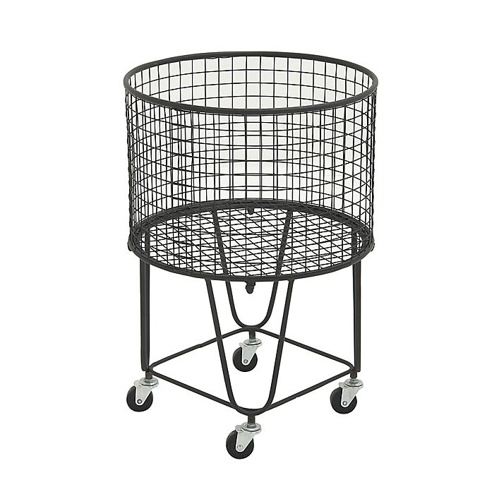 Alternate image 1 for Ridge Road Décor Round Iron Wire Rolling Basket in Black
