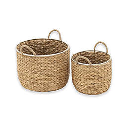 Ridge Road Décor 2-Piece Braided Round Seagrass Basket Set