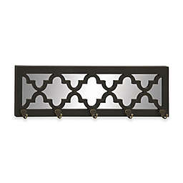 Ridge Road Décor Quatrefoil Mirrored Wall Hook Rack in Black