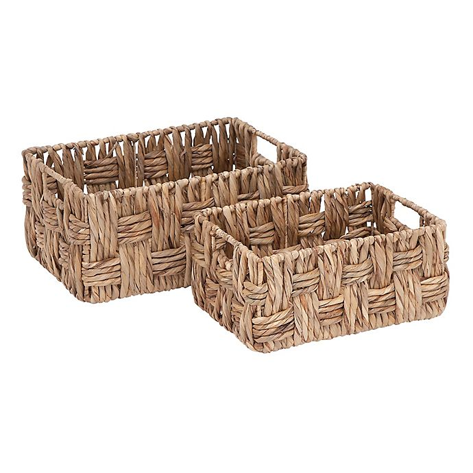 Alternate image 1 for Ridge Road Décor 2-Piece Rectangular Wicker Basket Set