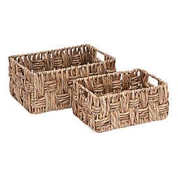 Ridge Road Décor 2-Piece Rectangular Wicker Basket Set