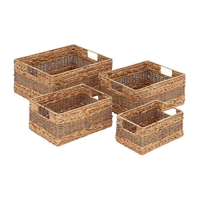 Alternate image 1 for Ridge Road Décor 4-Piece Braided/Woven Seagrass Basket Set