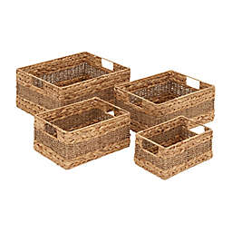 Ridge Road Décor 4-Piece Braided/Woven Seagrass Basket Set
