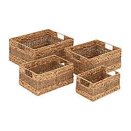 Ridge Road Décor 4-Piece Braided/Woven Seagrass Basket Set