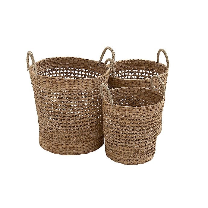 Alternate image 1 for Ridge Road Décor 3-Piece Cross Weave Seagrass Basket Set