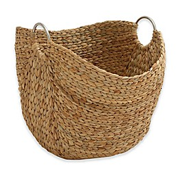 Ridge Road Décor Oval Seagrass Basket with Metal Handles