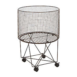 Ridge Road Décor Round Iron Wire Rolling Basket in Grey
