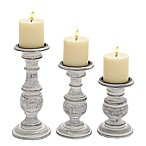 Ridge Road Décor  3-Piece Turned Wood Candle Holder Set in White