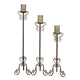 Ridge Road Décor 3-Piece Scrollwork Iron Candle Holder Set in Brown