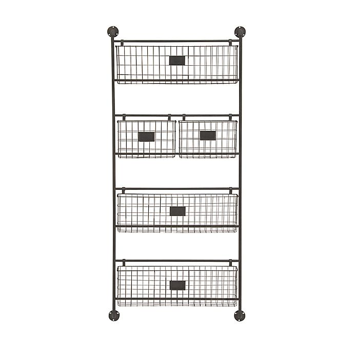 Alternate image 1 for Ridge Road Décor 5-Basket Iron Wire Wall Organizer in Black