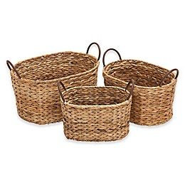 Ridge Road Décor 3-Piece Braided Oval Wicker Basket Set