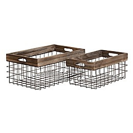 Ridge Road Décor 2-Piece Rectangular Wood/Iron Wire Basket Set in Black