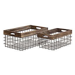 Ridge Road Décor 2-Piece Rectangular Wood/Iron Wire Basket Set in Black