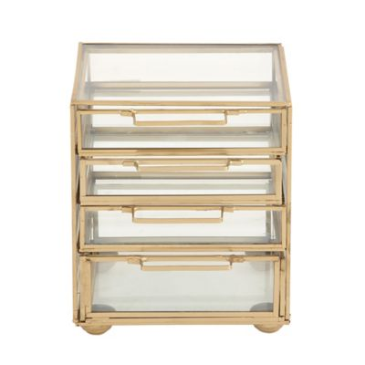 Ridge Road Décor Contemporary 4 Drawer Glass/Iron Jewelry Chest In Gold by Bed Bath And Beyond
