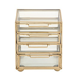 Ridge Road Décor Contemporary 4-Drawer Glass/Iron Jewelry Chest in Gold