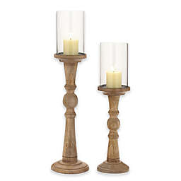 Ridge Road Décor 2-Piece Turned Wood/Glass Candle Holder Set in Oak