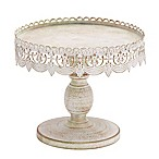 Ridge Road Décor 10-Inch Lace Edge Iron Pedestal Cake Stand in White