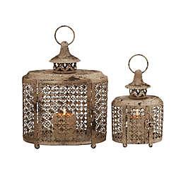 Ridge Road Décor 2-Piece Oval Scallop Lattice Iron Candle Lantern Set in Beige