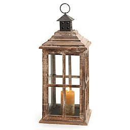 Ridge Road Décor Square Windowpane Wood/Glass Candle Lantern in Brown