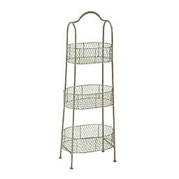 Ridge Road Décor 3-Basket Oval Iron Stand in White