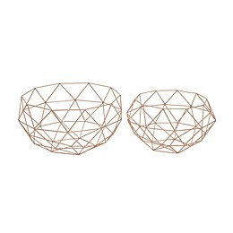 Ridge Road Décor 2-Piece Geometric Wire Basket Set in Gold