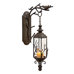 Ridge Road Décor Birds and Branches Lantern Iron/Glass Candle Sconce in Bronze