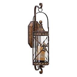 Ridge Road Décor Fleur de Lis Lantern Iron/Glass Candle Sconces in Bronze