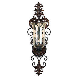 Ridge Road Décor Scrolled Hurricane Iron/Glass Candle Sconce in Bronze